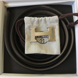 HERMES 32 mm Belt Leather Strap With Buckle